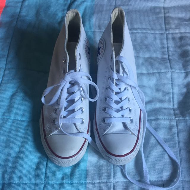 Converse White Leather High Tops Heeled US7