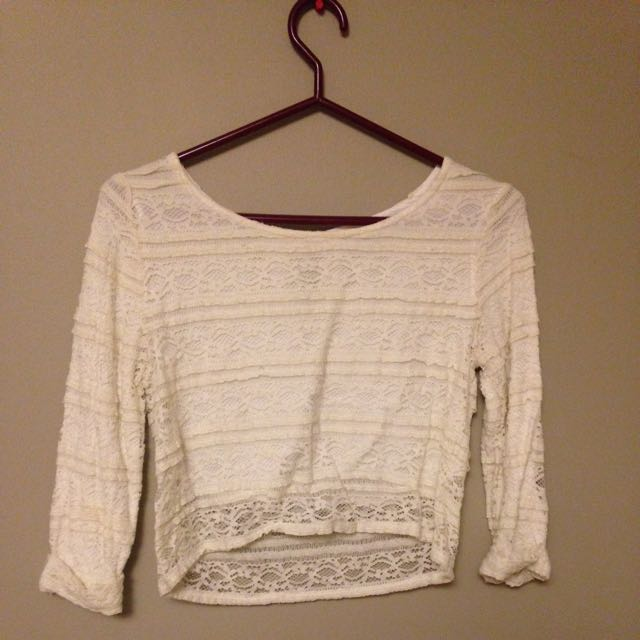 Crop Top Beige Lace