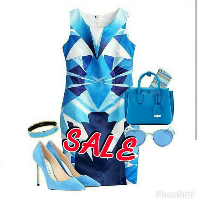 Dress Biru Abstract Import