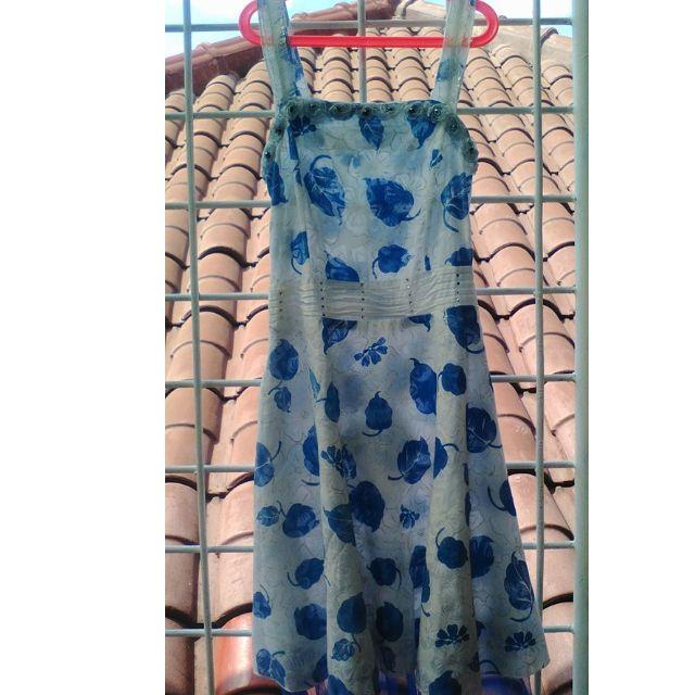 dress daun biru