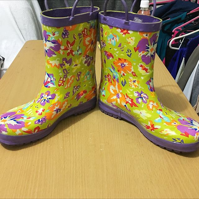 Flower Printed Rubber Rain Boots Sz 6