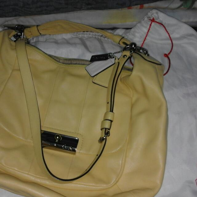Fs Authentic Geniune Soft Leather Coach Signature Two Way Bag