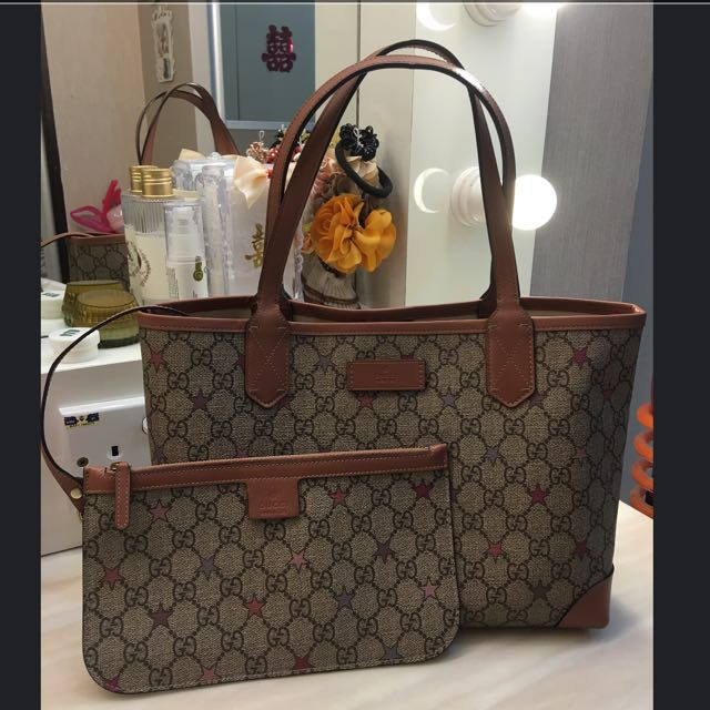cb4533b062620b Gucci Joy GG Supreme Stars Canvas Tote, Luxury, Bags & Wallets on Carousell