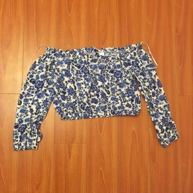 H&M Off The Shoulder Floral Crop Top