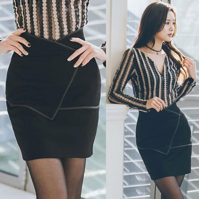 799a0a51f0e Korean Look Sleek Chic Black Wrap Skirt - Code G952