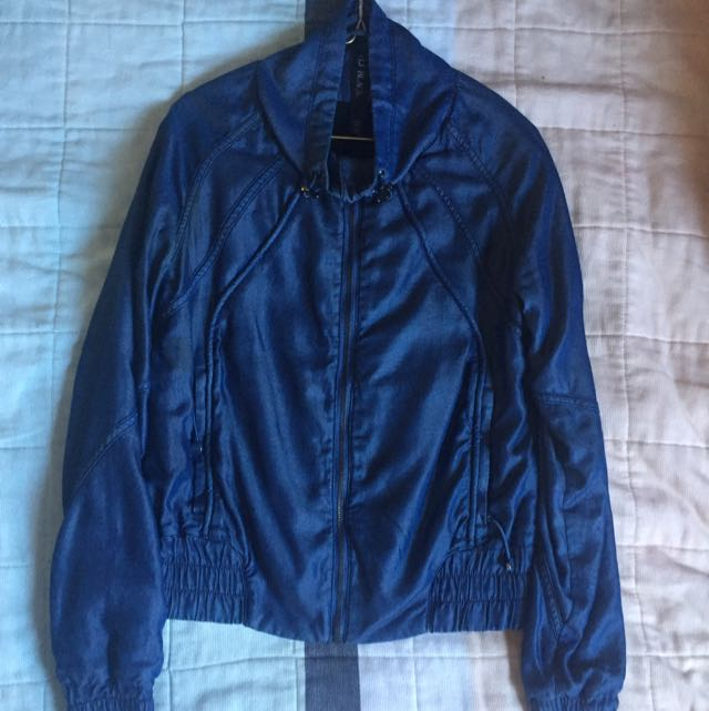 Lorna Jane Denim Bomber Jacket XS