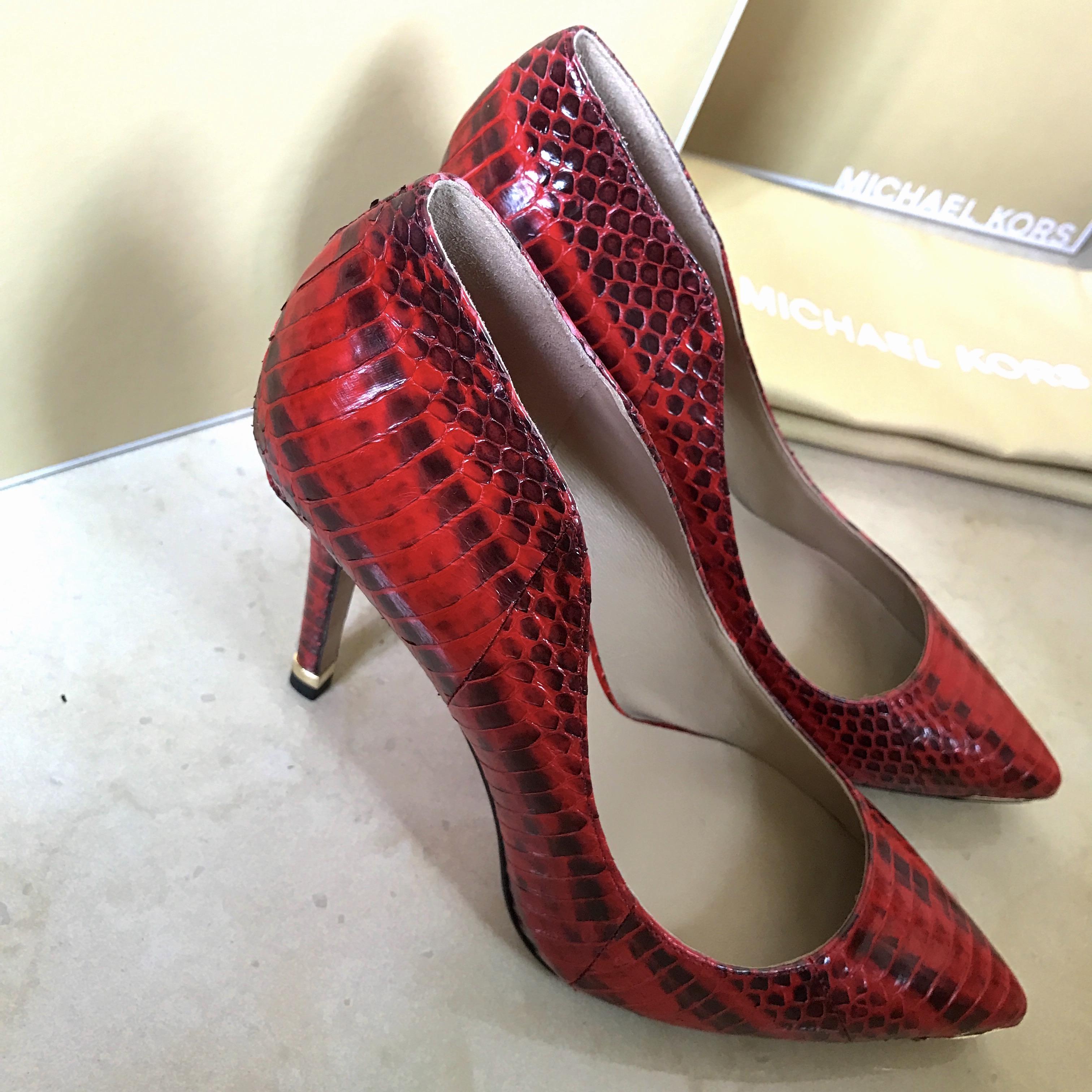 dd9fde58ea43 Michael Kors Collection Avra 蛇皮高踭鞋Snakeskin Pumps