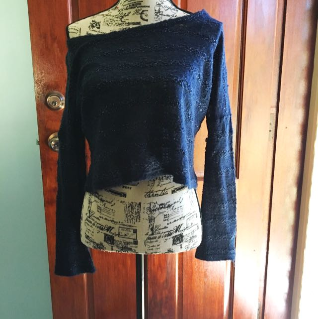 Navy Crop Sweater W/ Gold Thread