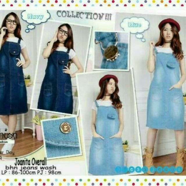 Overall Skirt Jeans Dress Kodok Rok Pendek With Inner Jumpsuit Korea