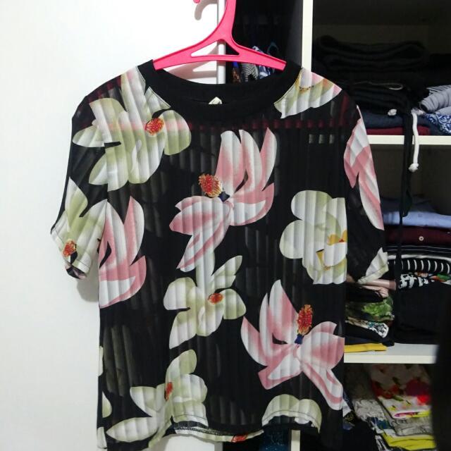 See Thru Floral Shirt