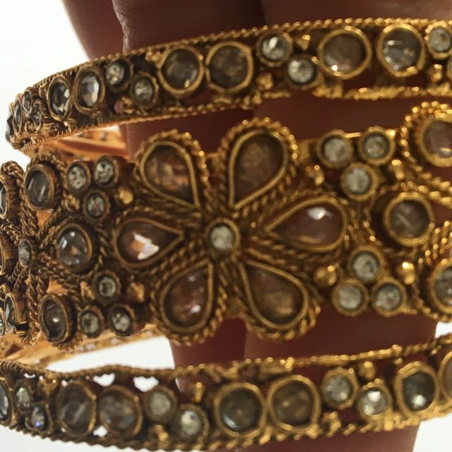 Set Of Three Ethnic Bangles Oxidized Golden With White Crystals
