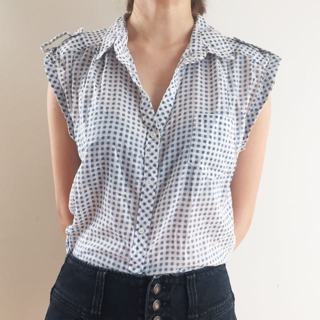 FREE POSTAGE/Sleeveless Checkered Top