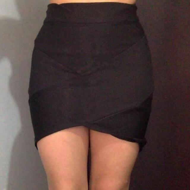 Taju Black Bandage Mini Skirt