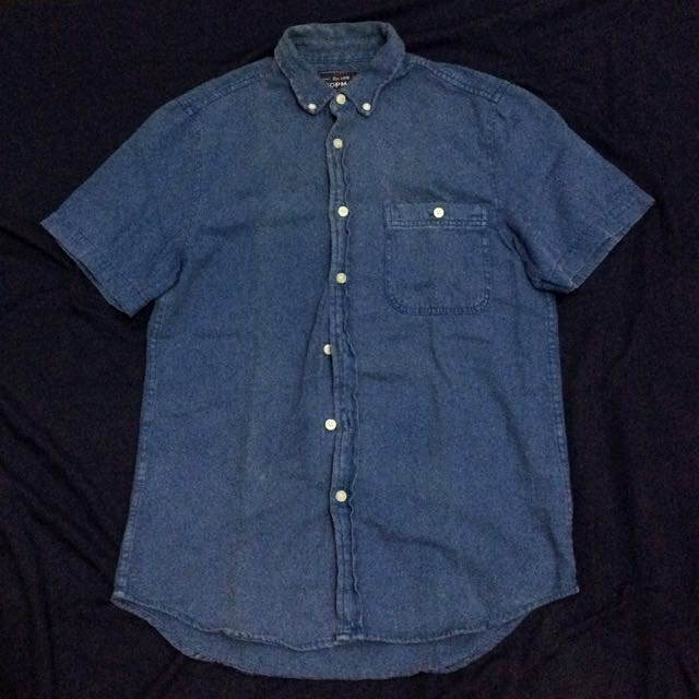(SOLD)Topman Blue Denim Polo Shirt