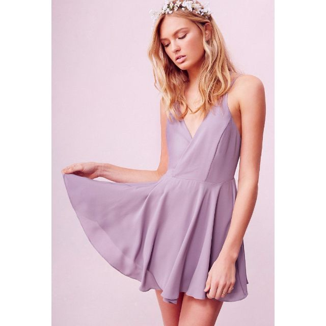 8cc9d28aa94f Urban Outfitters Sparkle + Fade Strappy Chiffon Skater Dress in  Lavender/Mauve, Women's Fashion, Clothes on Carousell