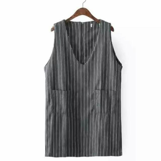 (保留)秋款V領條紋無袖洋裝