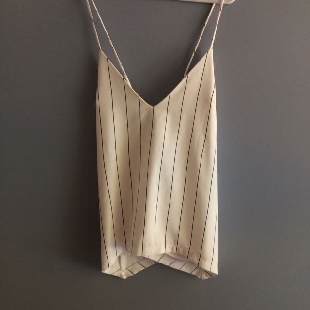 White Pin Stripe Summer Cami