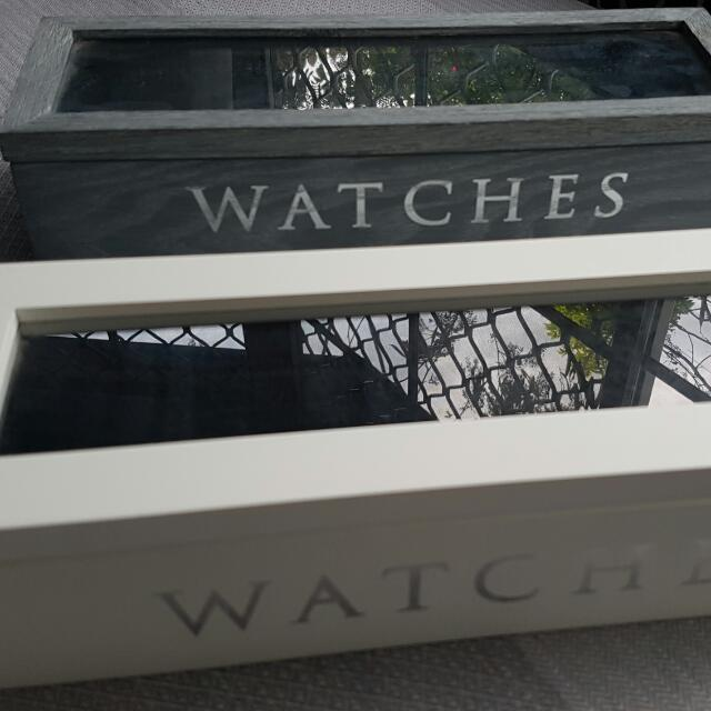 Wooden Watch Boxes (Blue and White)