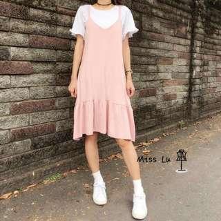 🚗代售🚗正韓 粉紅甜美魚尾裙