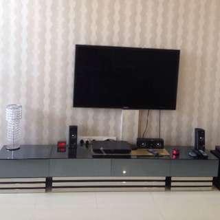 Contemporary TV Console With Dark Mirror