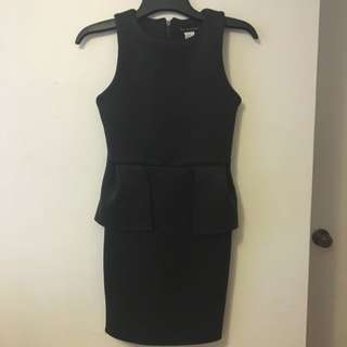 Black Thick Material Peplum Dress