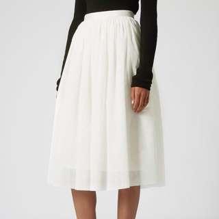 Topshop Ballerina Tulle Midi Skirt in White