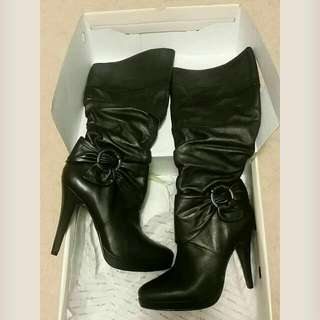 Aldo Black Leather Knee High Boots