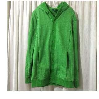 H&M 綠 長版 落肩 外套 內裡微刷毛 保暖 秋裝 簡單 外套 近全新 百搭 古著 復古 二手 ASOS
