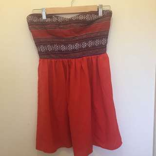 Blurr Size 10 Strapless Dress Red And Aztec Print
