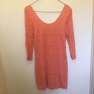 Orange Long Sleeve Cotton On Dress Size Small