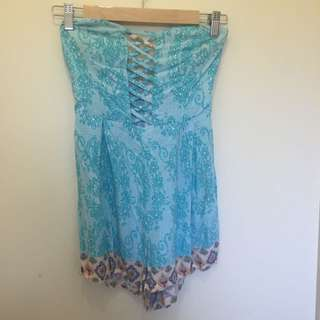 Blue Strapless Playsuit Size 12