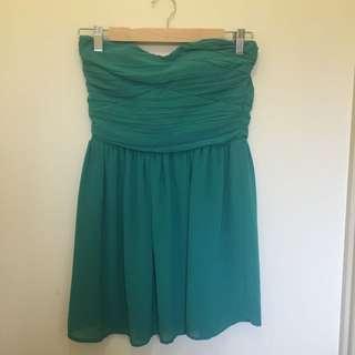 Green Temt Strapless Dress Size 8