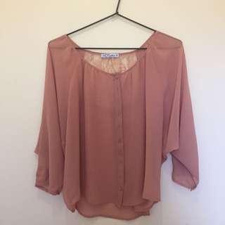 Pink/cream Flowy Top Size 10