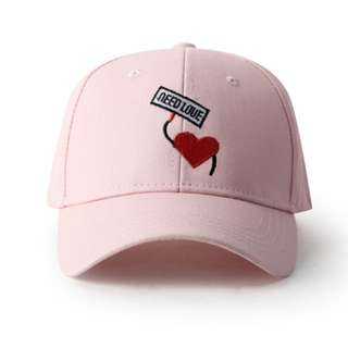 Need Love Pink Curve Brim Golf Cap Hat Caps Hats with Adjustable Buckle Back