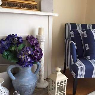 Navy Striped New Hampton Style Armchair