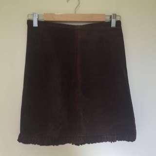 Brown Sportsgirl Velvety Leather Skirt