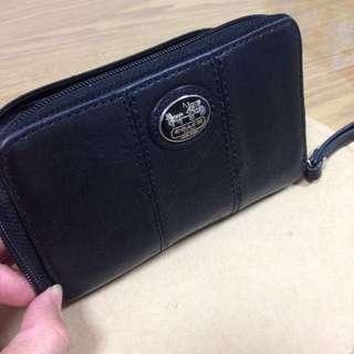 Coach正品 黑色真皮手拿包 零錢包 皮夾
