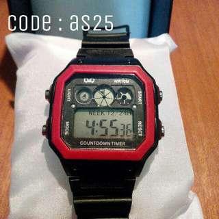 Jam Tangan Pria QnQ Black Digital Code : AS25