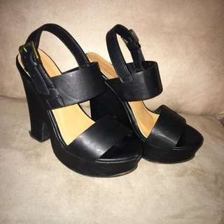 Rubi Shoes Black Thick Strap Heels