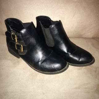Rubi Shoes Black Buckle Boots
