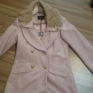 韓製毛領中長大衣外套