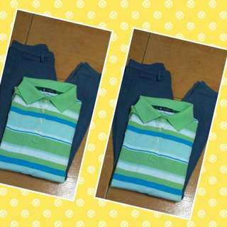 Blue Uniqlo Jeggings Plus  1 Color Stripes Polo Shirt