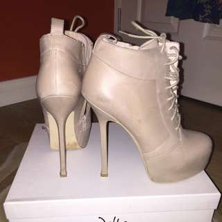 Wittner Nude Heeled Booties Leather Size 10