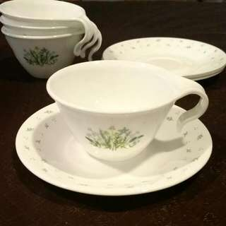 Corelle Teacup And Saucer X 4 - Herb Country