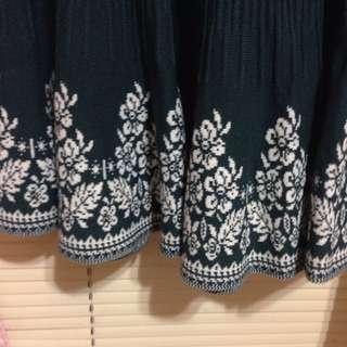 針織深綠花裙