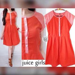 Juicy Orange dress (katun tebal bagus adem) original -merk sebagian dcross- s90 m95 L100  Pj90cm @105rb