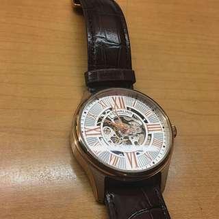 Stuhrling Original Men's 747.04 Atrium Automatic Skeleton Rose Tone Brown Leather Strap Watch