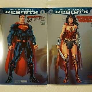 Wonder Woman Superman SDCC 2016 Foil Exclusives Variant by Jim Lee