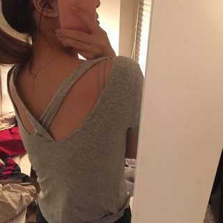 Grey T Shirt With Back Detail
