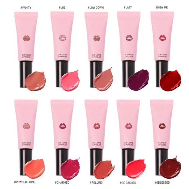 3ce liquid lip color 秋冬新款液態霧面唇彩